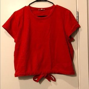 MADEWELL Red Cropped tie back shirt